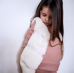 'Evie' Cream Faux Fur Gilet KIDS