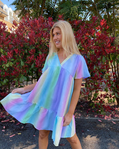 'Natasha' Pastel Rainbow Frill Dress