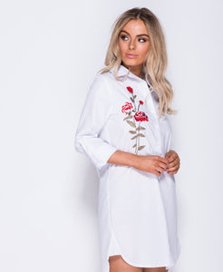'Issy' Embroided Shirt Dress