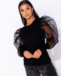 'Lilly' Sheer Sleeve Top