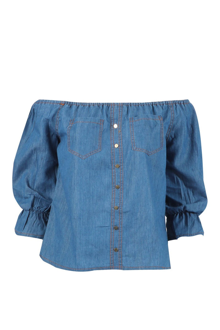 'Addy' Denim Style Off Shoulder Top