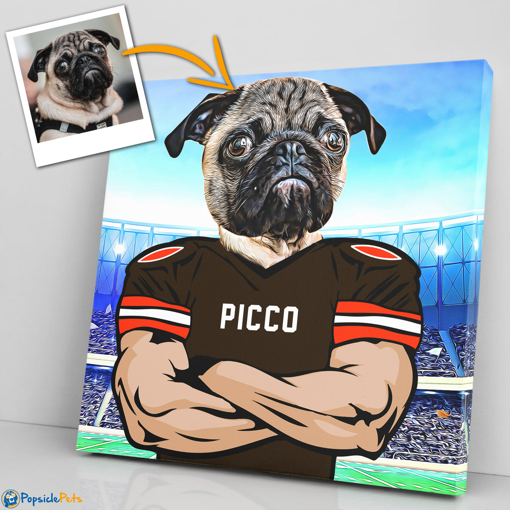 cleveland browns football custom pet art canvas