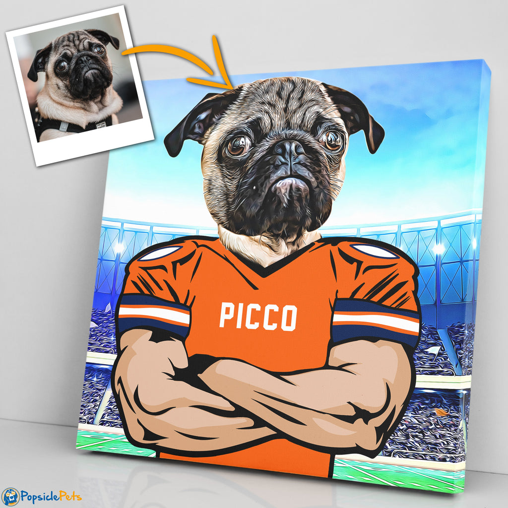 denver broncos football custom pet art canvas