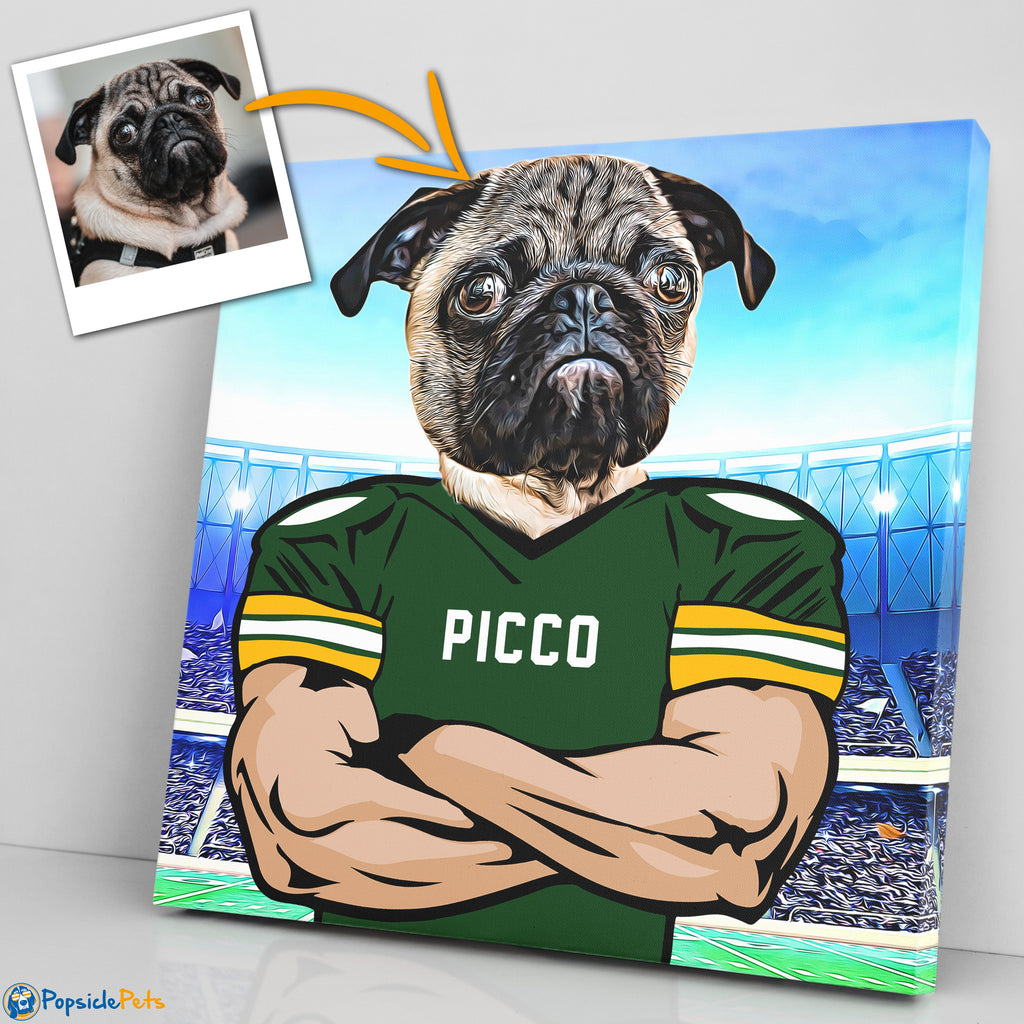 green bay packers football custom pet art canvas
