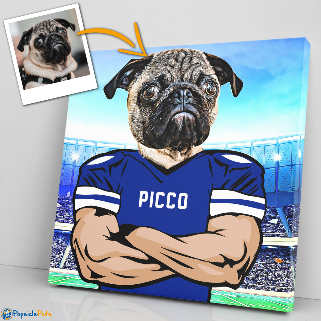 Indianapolis Colts football custom pet art canvas