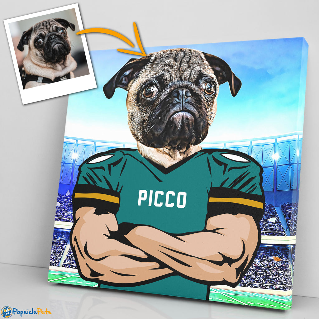 Jacksonville Jaguars football custom pet art canvas