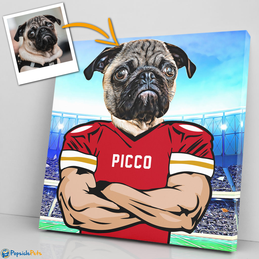 Kansis City Chiefs football custom pet art canvas