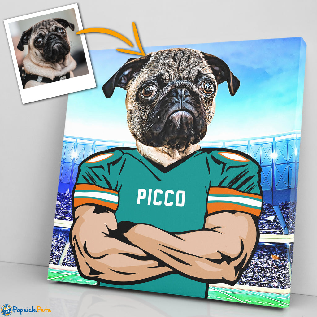 miami dolphins football custom pet art canvas