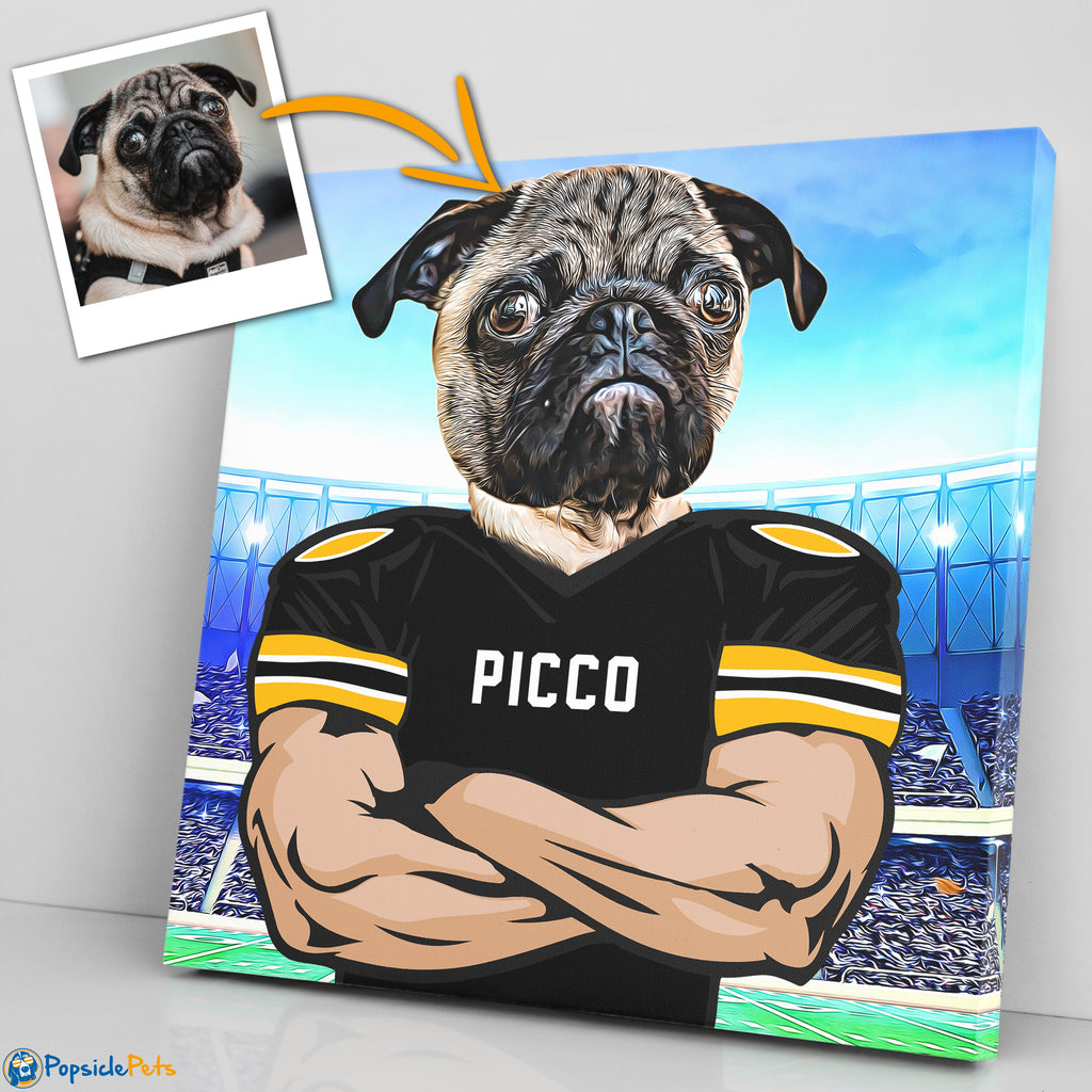 Pittsburgh Steelers football custom pet canvas art