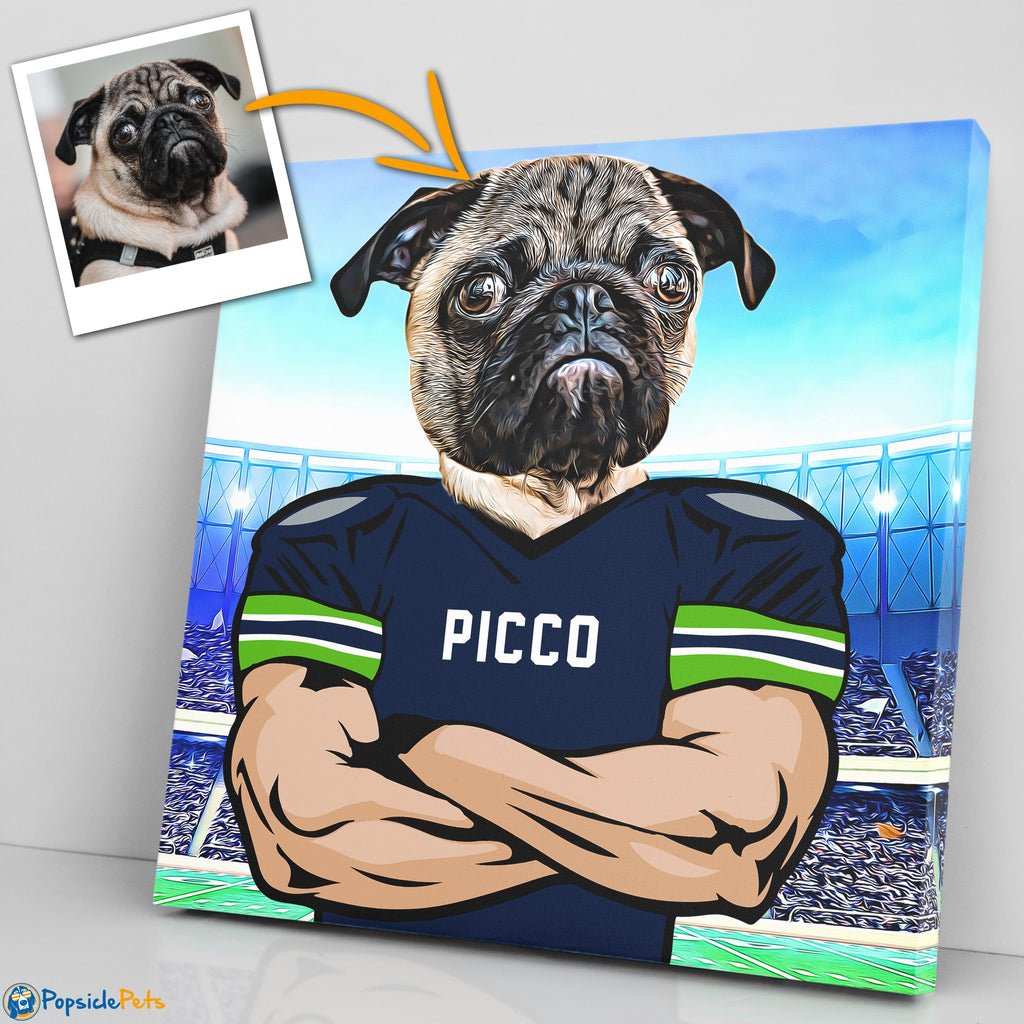 Seattle Seahawks football custom pet canvas art