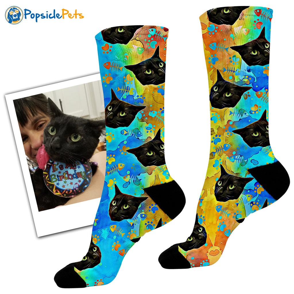 Custom Cat Socks - Popsicle Edition