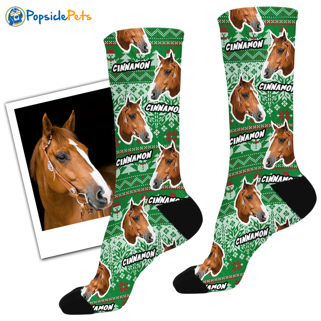 The Original Horse Face Ugly Christmas Socks