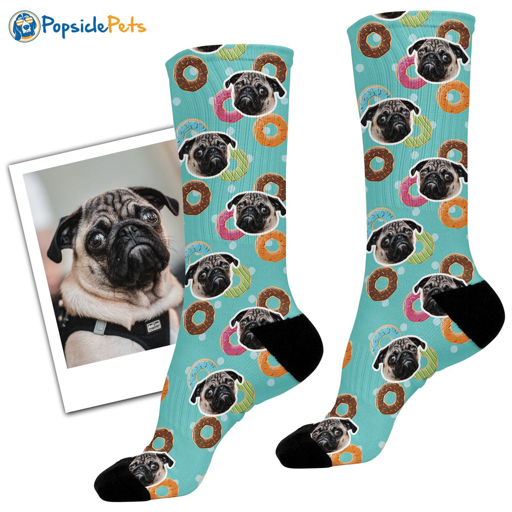 custom dog face donut socks