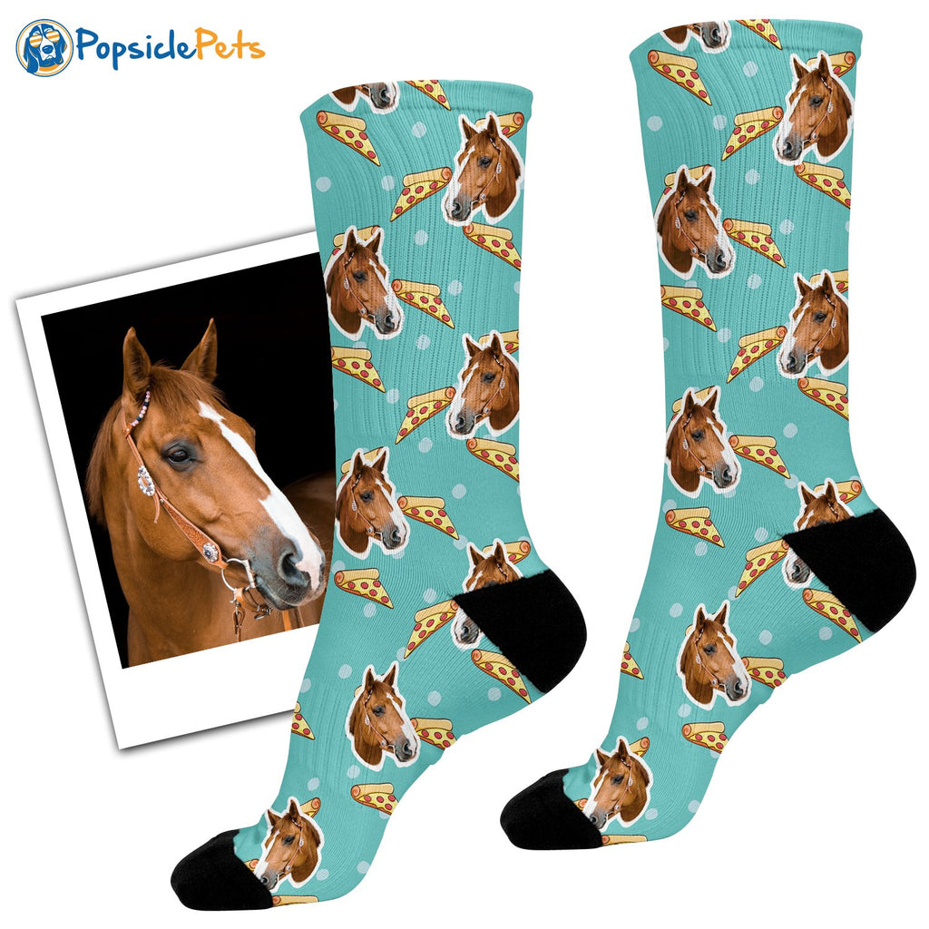 custom horse face pizza socks