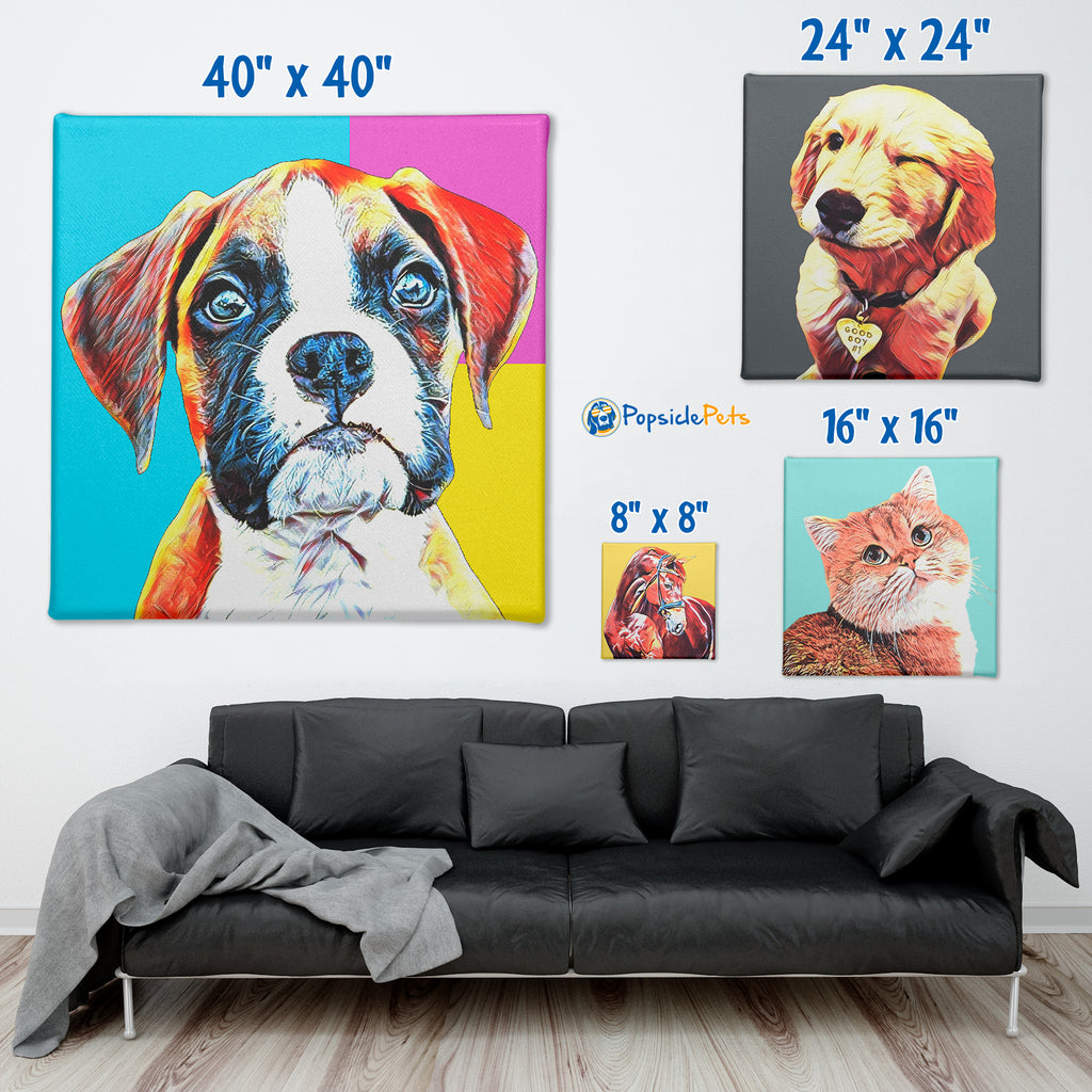 "Custom Pet Portrait Canvas ""Pop Art"""