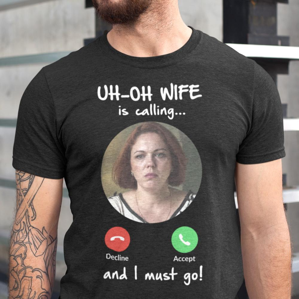 Custom Photo & Text Men's Shirt - My Pet Is Calling And I Must Go!