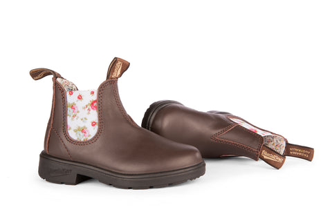 BLUNDSTONE 1641 - Kid's Brown With Floral Elastic