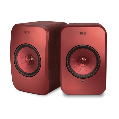 KEF LSX Active Wireless HiFI Speakers RED | Douglas HiFi