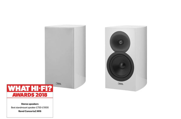 Revel Concerta2 M16 Award Winning Bookshelf HiFi speakers (White) | Douglas HiFi
