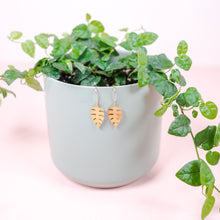 Load image into Gallery viewer, Tiny Narrow Monstera Leaf Earrings