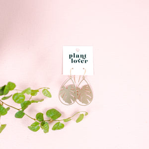 Monstera Leaf Teardrop Earrings