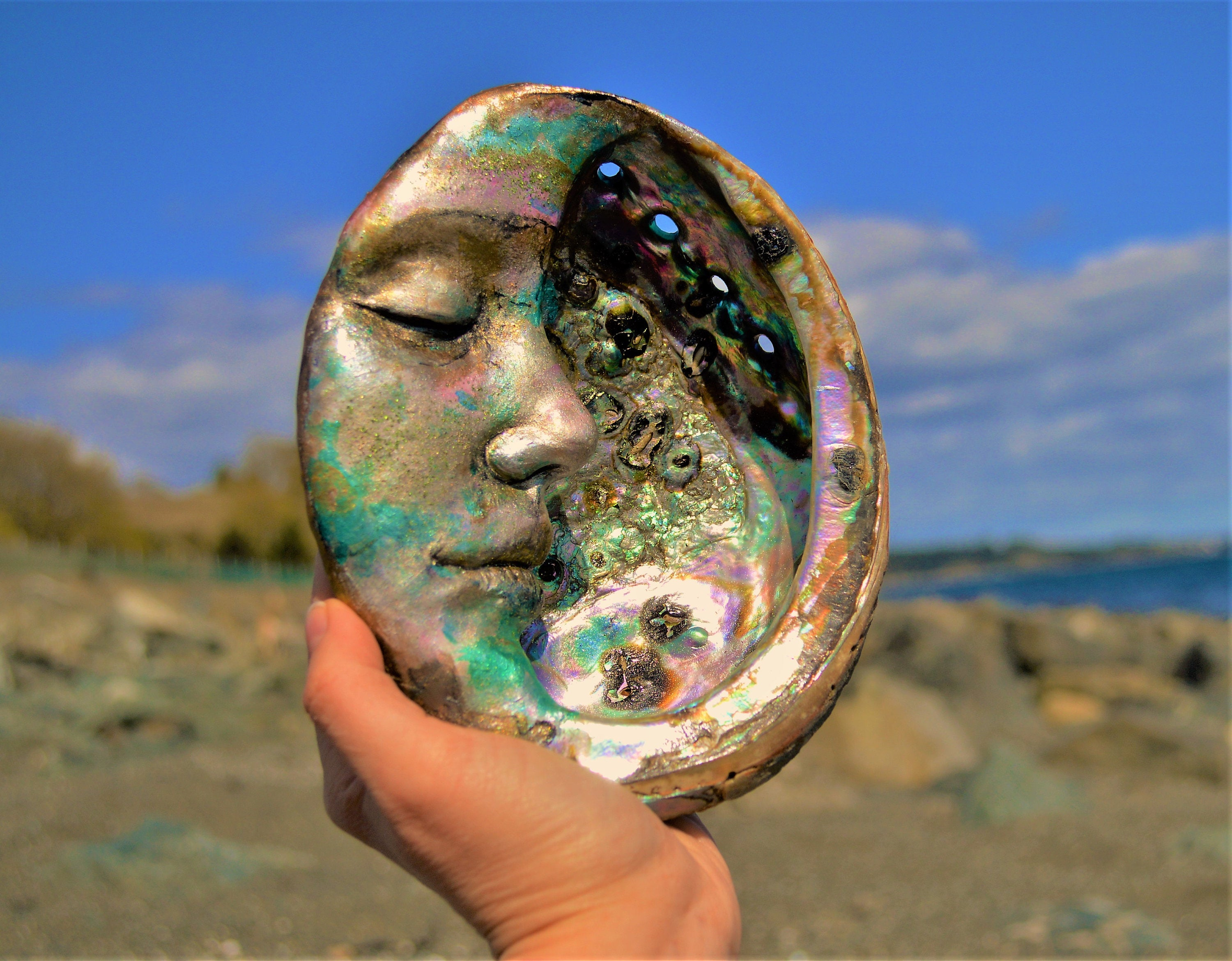 Moon Abalone Shell, Altar, Smudge, Mother of Pearl