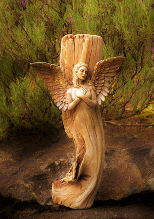 #43- Angel in Wood Art Card