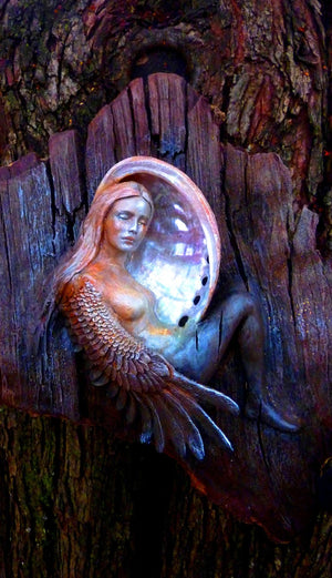 #15 - Winged Bird-Woman in Moon Shell Art Card