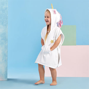 HOODED UNICORN PONCHO COVER-UP