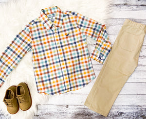 Fall Breeze & Autumn Leaves Button Down