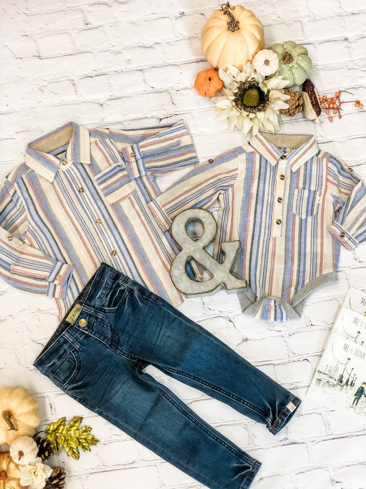 Blue/Cream Stripe Button Up Onesie