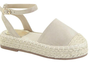 Taupe Espadrilles Flatform Wedge Closed Toe Sandals