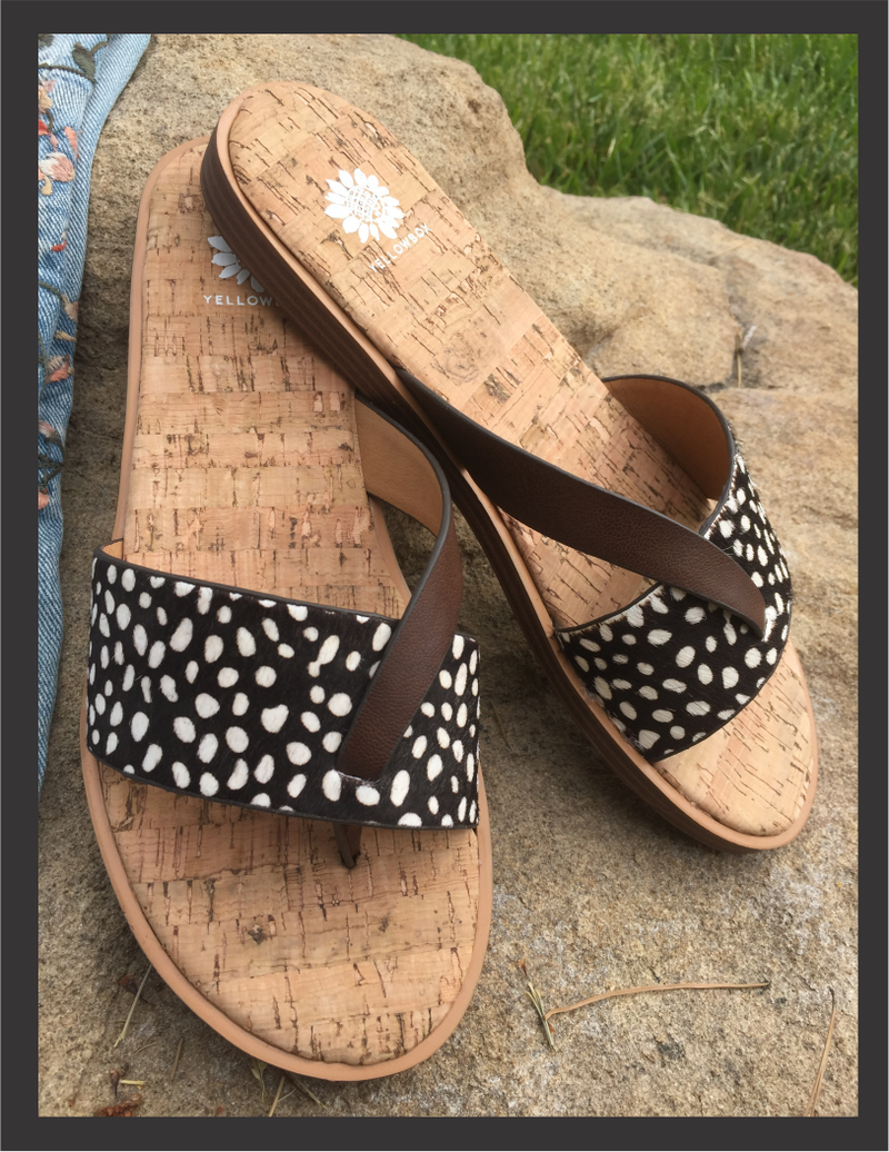 Footwear - Cheetah Cork Flat Sandals