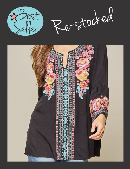 PL - Black Floral Boho Top
