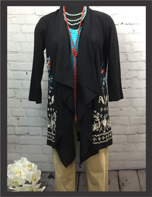 CK Black Cardigan with Sheer Front Accents