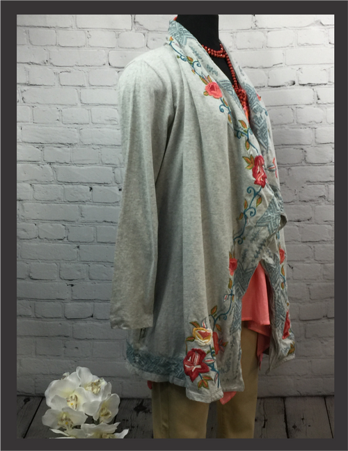 CK Grey Floral Embroidered Cardigan