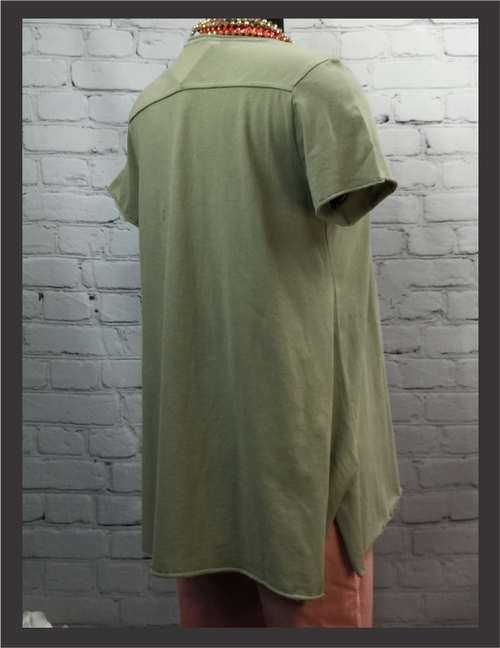 CK Olive Tee w/Raw Edges