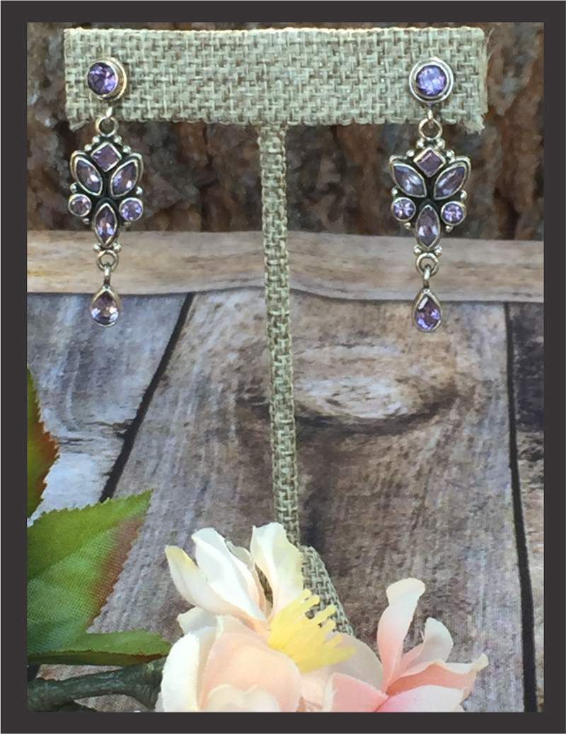 Earrings - Faceted Amethyst in Sterling Silver