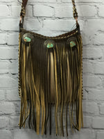 Handbag - Kurtmen Tan Fringed Cross Body Bag