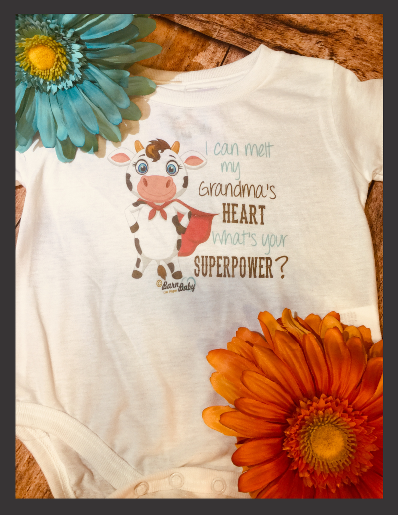 Baby Onesie - I Can Melt My Grandma's Heart, What's Your Superpower?