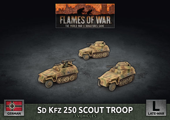 Flames of War Late War German Sd Kfz 250 8cm/7.5cm/2cm Scout Platoon (GBX176)