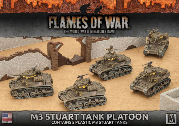 Flames of War Mid War American M3 Stuart Light Tank Platoon (UBX56)