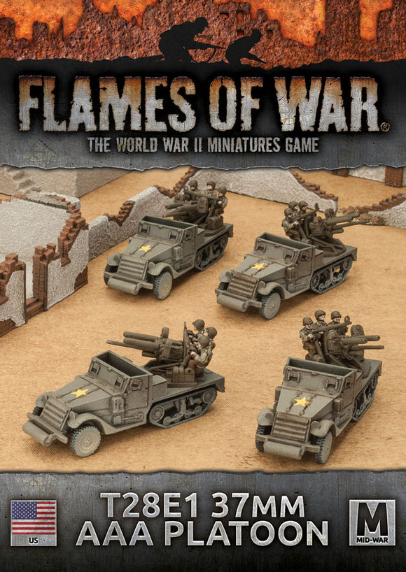 Flames of War Mid War American T28E1 37mm AAA Platoon (UBX61)