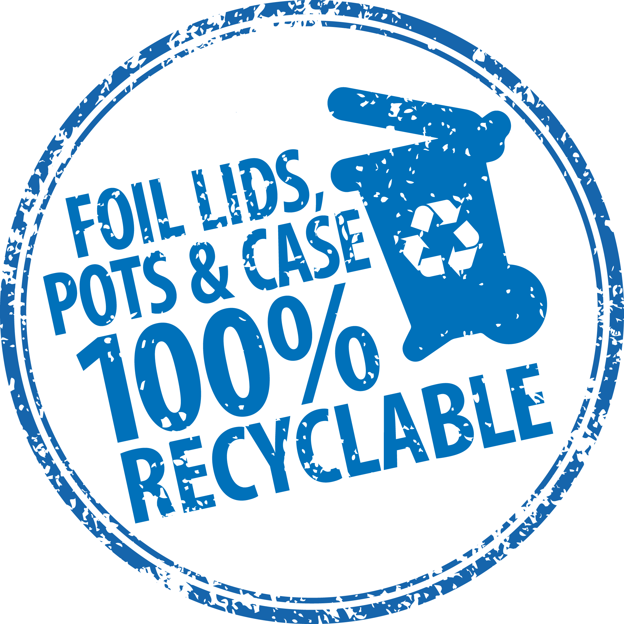 foil, lid, pots & case 100% recyclable