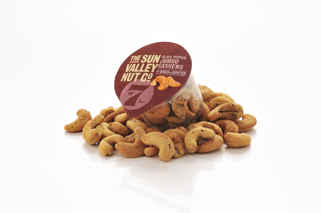 Black Pepper Jumbo Flavoured Cashews, in a handy portion controlled pot.