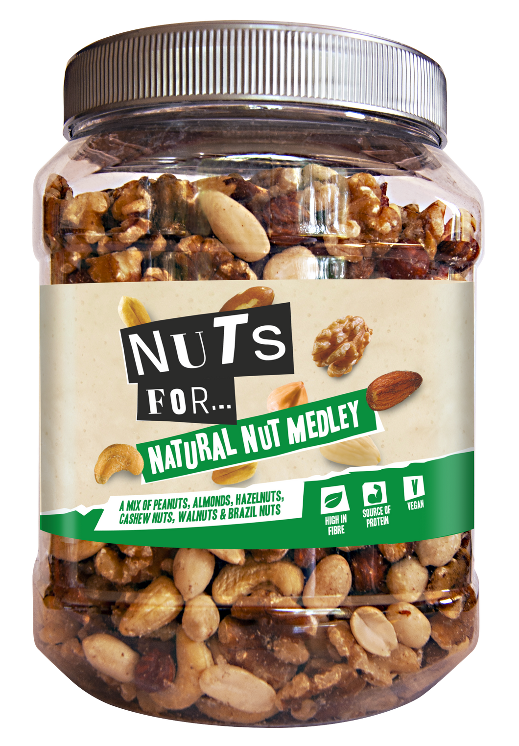 Nuts For Natural Nut Medley, a mix of peanuts, almonds, hazelnuts, cashew nuts, walnuts and brazil nuts.