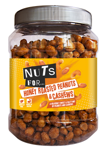 Nuts For Honey Roasted Peanuts and Cashews, a heavenly sweet and salt mix of peanuts and cashews.