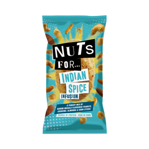 Nuts For Indian Spice Infusion, a mix of Indian Garam Masala Flavoured Peanuts, Cashews, Almonds and Corn Sticks