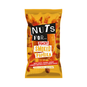 Nuts For Punchy Smoked Paprika a mix of peanuts, cashews, almonds and crunchy corn with a kick of smoked paprika