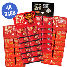 Load image into Gallery viewer, Spicy Pub Nut Bundle, containing over 40 bags of nuts. Comes with 2 Chilli Peanuts, 1 Crunchy Coated Peanuts card and 1 card of Spicy BBQ Peanuts & Corn w/TABASCO® brand Seasoning